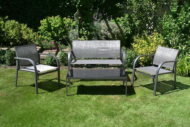 Deals Direct 4 Piece Bentley Garden Modern Textilene Lounge Set (Grey & Cream)