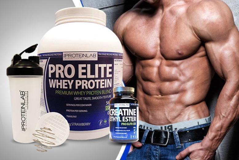 £39 instead of £99.98 (from The Protein Lab) for a 28-day* supply of whey protein shake, 600ml shaker bottle and 240 creatine tablets - save 61%