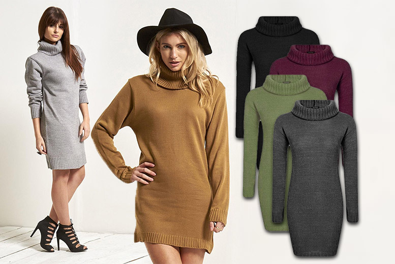 £14 instead of £23.99 (from Be Jealous) for an oversized cowl neck knitted dress  select from four sizes six colours and save 42