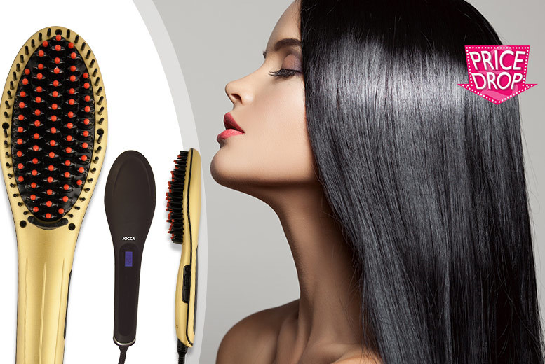 £18 instead of £87 (from Meadow Vale) for a black or gold Jocca hair straightening brush - get luscious locks and save 79%