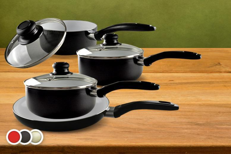 £24.99 instead of £149.99 for a 7-piece non-stick ceramic pan set including saucepans and frying pan from Wowcher Direct - choose from red, black or cream & save 83%