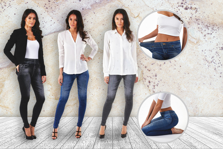 £19.99 instead of £69.99 for three super slim jeggings in blue, grey and black from Wowcher Direct - save 71%