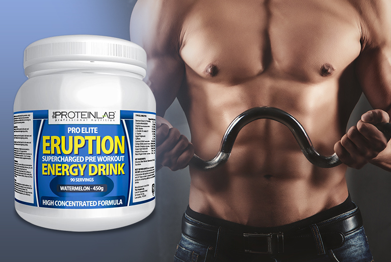 £19.99 instead of £49.99 (from The Protein Lab) for 450g Pro Elite Eruption pre-workout energy drink in watermelon flavour - enjoy 90 servings* and save 60%
