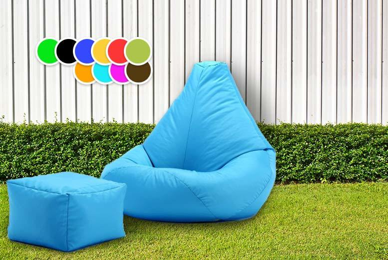 £28 instead of £99 (from UK Beanbags) for a highback beanbag with matching footstool, perfect for indoors and outdoors - choose from 11 bright colours and save 72%