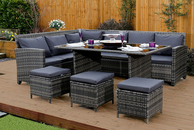 Abreo 9 Seater Rattan Garden Corner Sofa & Table Set (Brown/Grey)