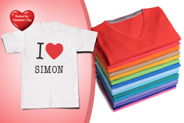 £8.98 instead of £17.99 (from Print Me A Shirt) for a personalised 'I Love' T-Shirt - show the world who you heart and save 50%