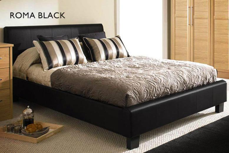 £179 for a double faux leather Roma bed and Ortho mattress, £229 for king size from Wowcher Direct - choose from 3 colours & save up to 64%