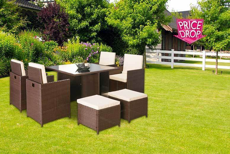 £269 instead £1399 (from Furniture Italia) for a Napoli nine-piece rattan cube set - choose black or brown and save 81%