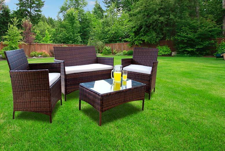 £99 (from Dining Tables) for a four-piece brown rattan garden furniture set, with a limited number available for £89 - save up to 85%