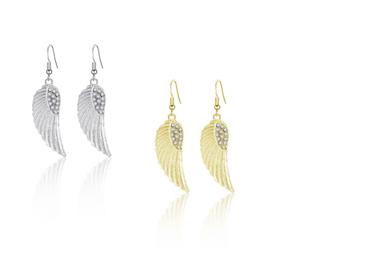 Angel Wing Crystal Earrings - 2 Colours!