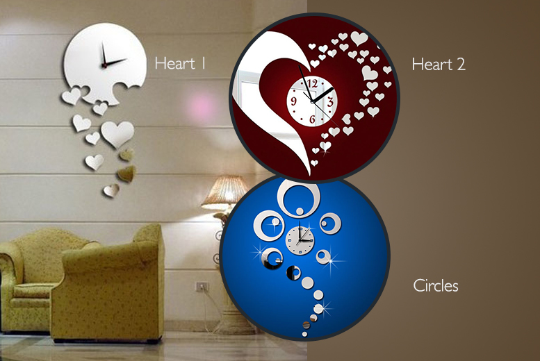 £9.99 instead of £39.99 for a mirrored wall clock in a choice of 8 styles from Wowcher Direct - save 75%
