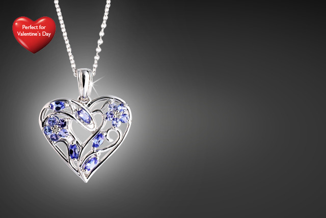 £29.99 instead of £119.99 (from Zircontime) for a Sterling silver heart pendant with diamonds and sapphire, tanzanite or ruby stone - save 75%