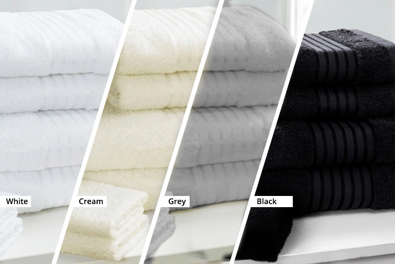 £9.99 instead of £46.50 (from Love 2 Sleep) for a super soft Egyptian cotton towel bale set - choose from navy blue, black, white, cream, grey, and charcoal and save 79%