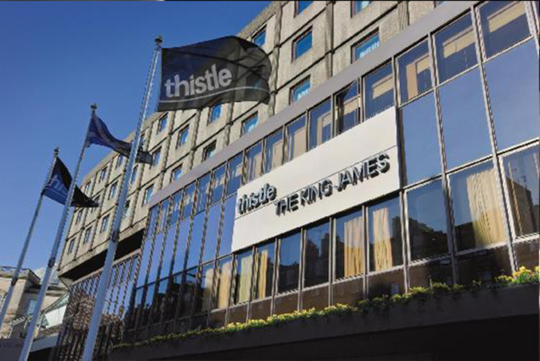 £79 for a 1nt stay for 2  inc. b'fast and a bottle of wine or £139 including a Scottish Night 4-course meal & entertainment at Thistle Hotel, Edinburgh - save up to 58%