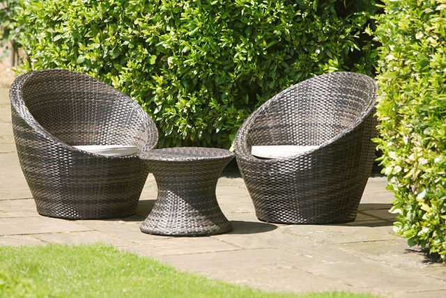 3pc garden rattan egg chair set shop wowcher. Black Bedroom Furniture Sets. Home Design Ideas
