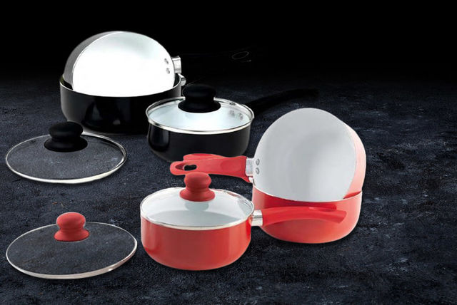 5-Piece Kitchen Hero Ceramic Saucepan Set (Black or Red)