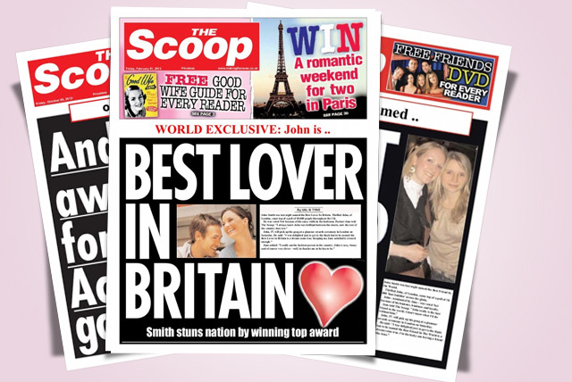 £4.99 instead of £9.99 (from Scooped!) for a personalised Valentine's Day newspaper - save 50%