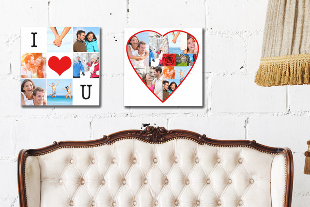 "£7.95 instead of £50 (from Grangeprint) for a 12"" x 12"" Valentines Facebook photo montage canvas print - save 84%"