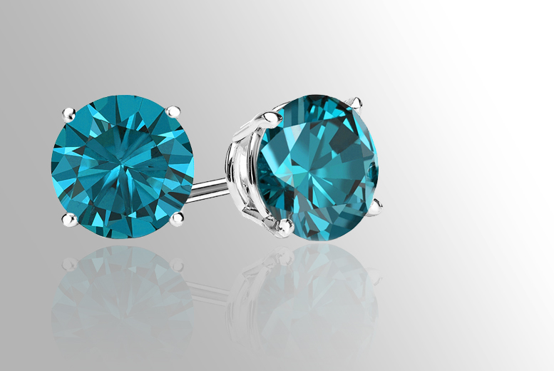£99 instead of £599 (from British Gem) for a pair of blue diamond stud earrings - save 83%