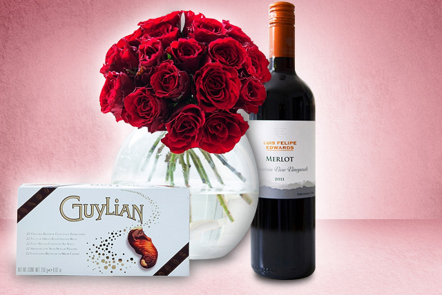 £44.98 instead of £89.99 (from Debenhams Flowers) for a roses, red wine and Guylian chocolate Valentine's gift set - save 50%