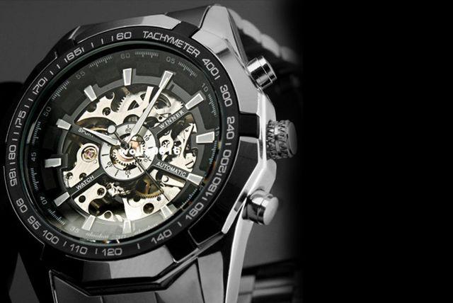 Mens Mechanical Military Skeleton Watch