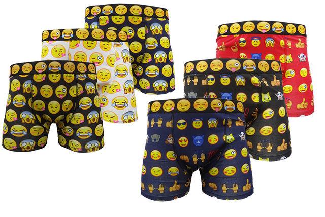 6pk mens novelty emoji boxers