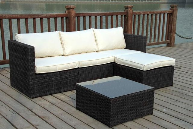 rattan garden corner sofa set 2 colours