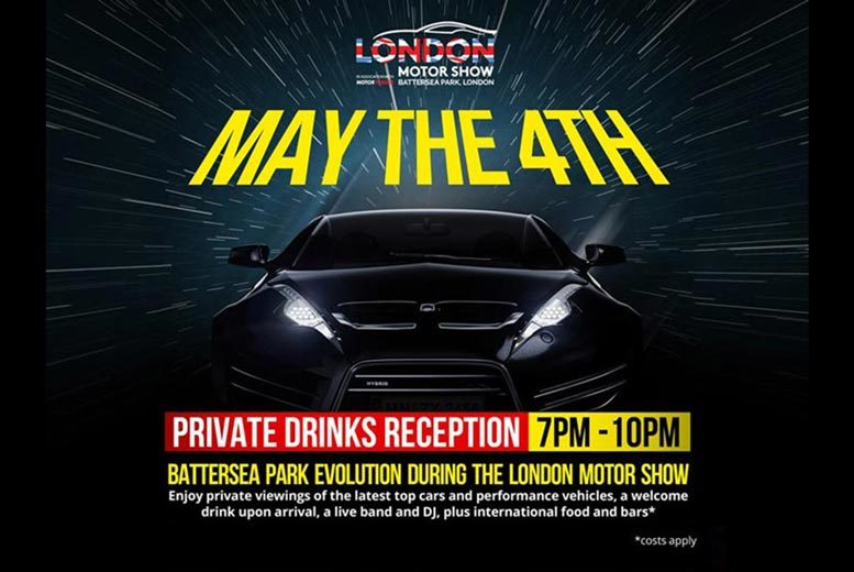 £18 instead of £30 for entry for one to the London Motor Show Gala Preview Reception at Battersea Evolution on 4th May 2017 - save 40%