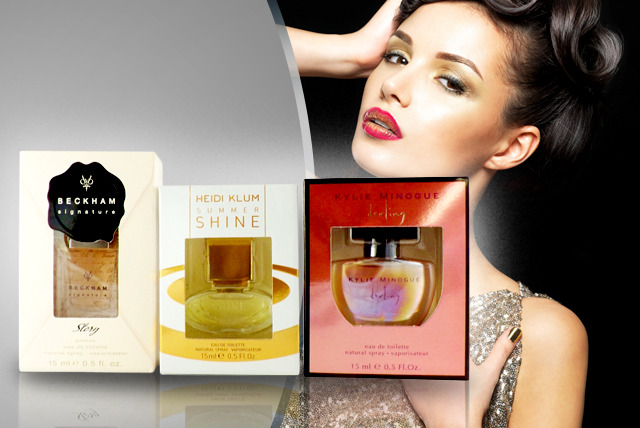 £16 instead of £44.97 (from Cosmetics By Candy) for 3 celebrity fragrances by Beckham, Heidi Klum & Kylie - save 64% + DELIVERY INCLUDED