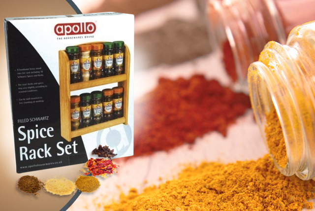 £12 instead of £34.99 (from Your Spares) for a 2-tier Apollo spice rack with 10 Schwartz spices – organise your spices and save 66%