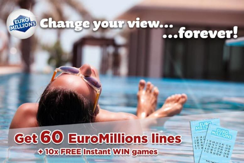 £9.99 instead of £23.94 for 60 syndicated EuroMillions lines over two draws and 10 instant win games with chances for an up to £7000 win from Lotto Social - save 58%