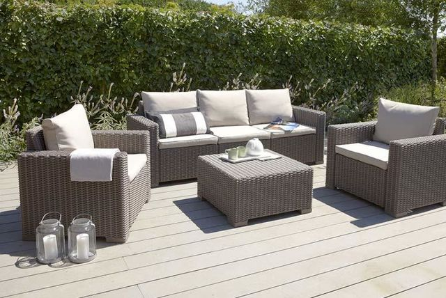 Rattan lounge set  Allibert California 6pc Rattan Lounge Set