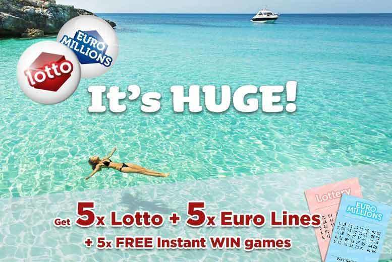 DDDeals - £2 instead of £3.98 for five syndicated EuroMillions and five Lotto lines, plus five instant win games with chances for an up to £7k win from Lotto Social - save 50%