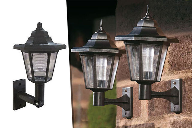 2 outdoor solar powered led wall lanterns