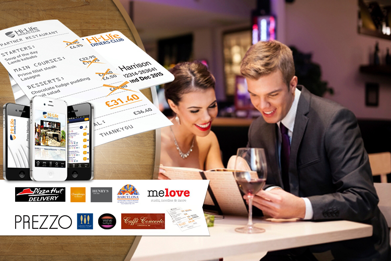 £2 instead of £34.99 for a 6-month Hi-Life Diners' Club '2-for-1' Classic digital membership card - save 94% + DELIVERY INCLUDED