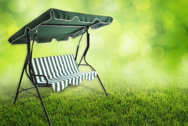 £49.99 instead of £194.99 (from Groundlevel) for a three-seater garden swing seat with a built-in sun canopy - save 74%