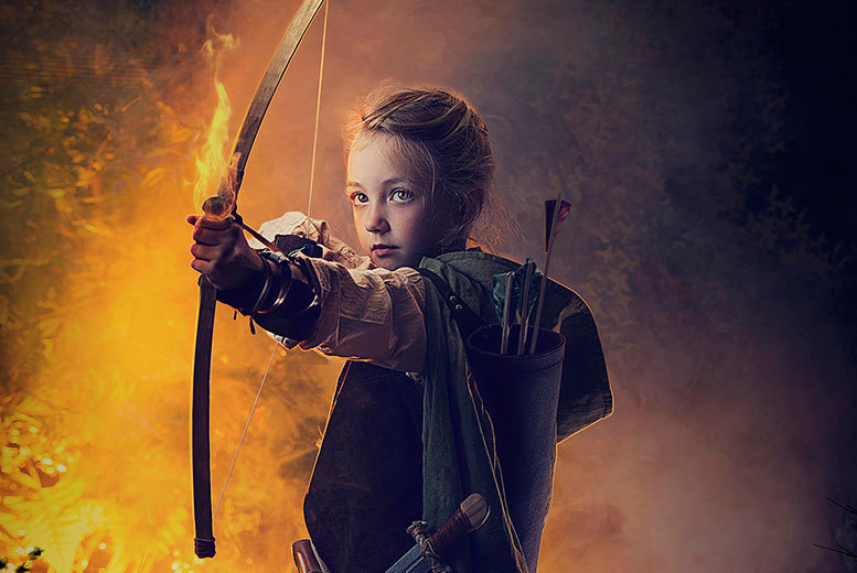 £10 for a Hunger Games-inspired woodland photoshoot for up to 2 children including a photo mug & 2 keyrings at Mackney Photography, Derby - save up to 93%