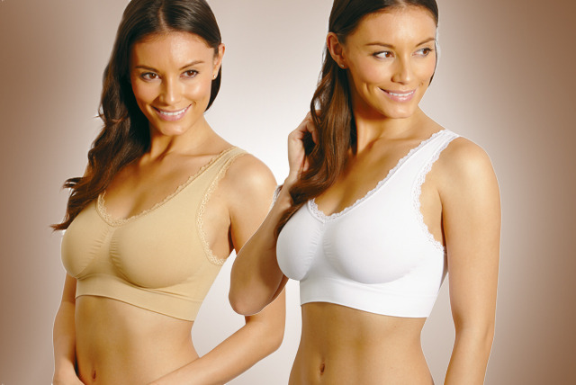 £15 instead of £29.99 for a set of 3 wireless, lace-trimmed comfy bras in white and nude from Wowcher Shop - save 50%