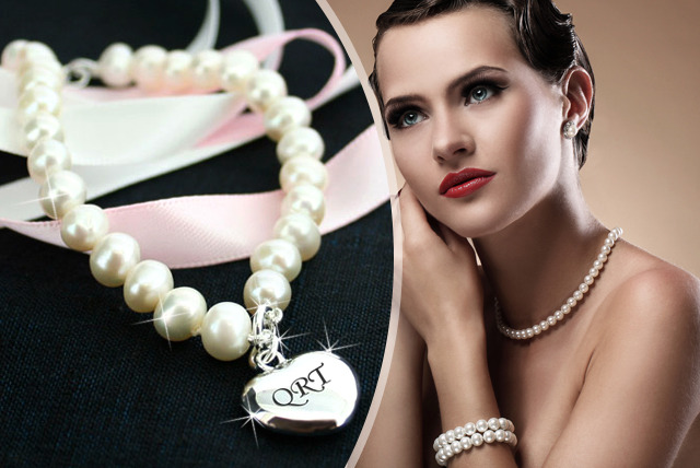 £20 instead of £49.99 (from TreatHer.com) for a personalised freshwater pearl bracelet in grey or white with sterling silver heart charm - save 60%