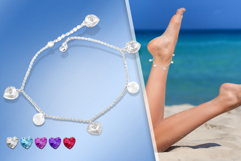 £6 instead of £45 (from Cian Jewels) for a crystal heart drop anklet made with Swarovski Elements - save 87%