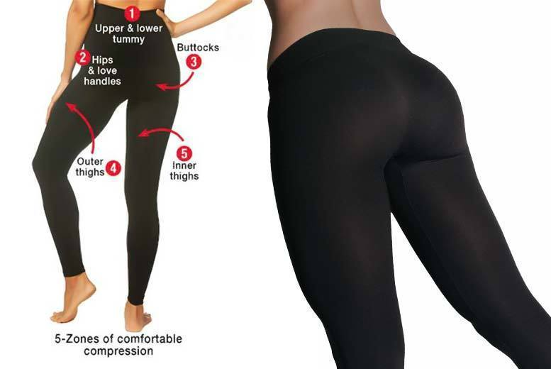 £9 instead of £27 (from The Ora Shop) for a pair of slim and tone high-waist firming leggings, £15 for two pairs - select from three sizes and save 67%