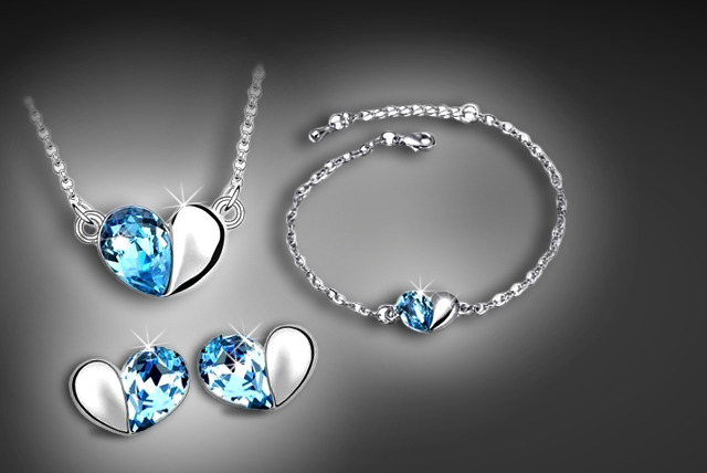 £19 instead of £56 (from Trinkets) for a blue crystal heart tri-set including necklace, bracelet and earrings – save 66%