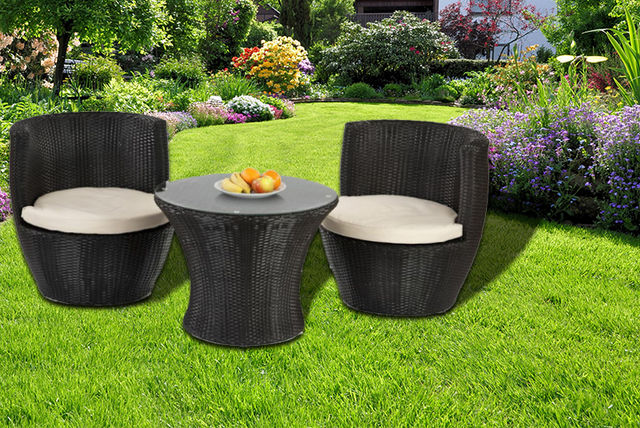 Garden Furniture Colours 3-piece rattan garden furniture set - 2 colours!