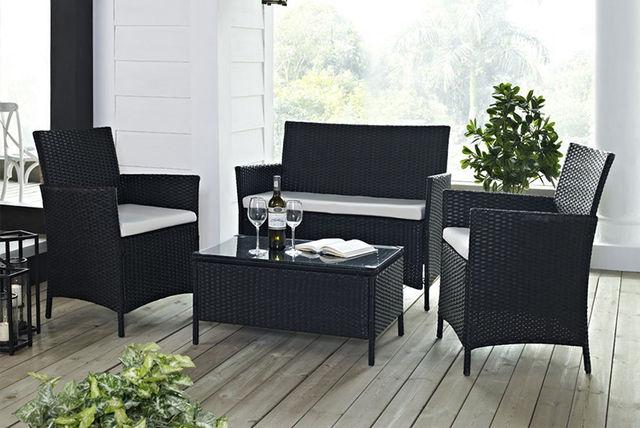 4pc rattan garden furniture set 2 colours