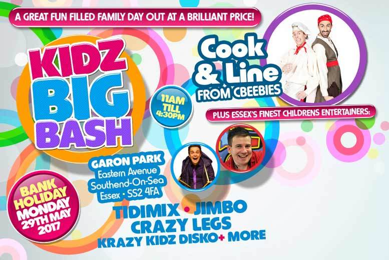 £12 instead of £24 for two tickets to the Kidz Big Bash on 29th May, Southend - save 50%