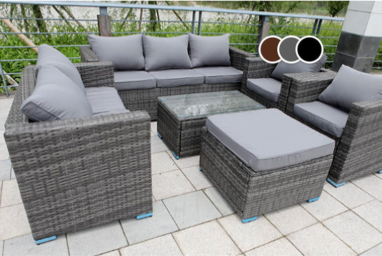 £479 instead of £970 (from Dreams Outdoors) for an eight-seater rattan garden set - choose from grey, black and brown and save 51%