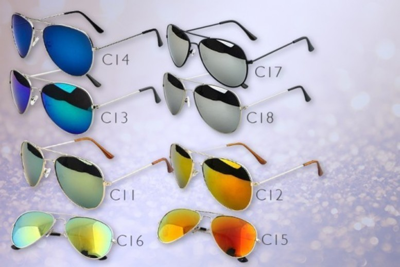 £5 instead of £36.99 (from Fakurma) for two pairs of aviator sunglasses  choose from nine designs and save 86