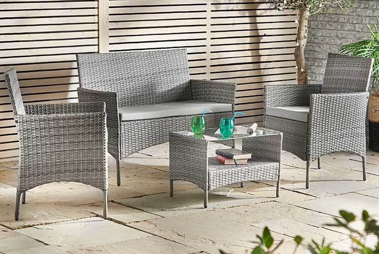 £129 instead of £159 (from Domu) for a VonHaus Silverline four-piece rattan sofa set - enjoy the sunshine and save £30