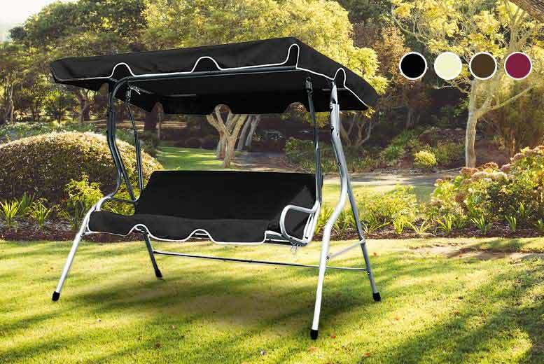 £49 instead of £110 (from Deuba) for a three-seater garden swing bench with metal frame and canopy - choose from four colours and save 55%