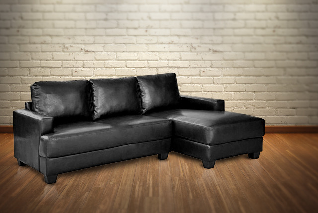 £349.99 instead of £799.99 (from Aston Furniture) for a black bonded leather corner sofa - save 56% + delivery is included